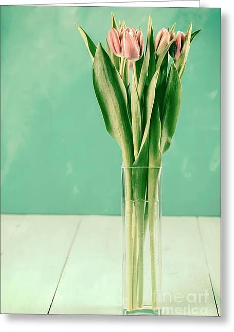 Wet Pink Tulip Flowers In Vase Greeting Card
