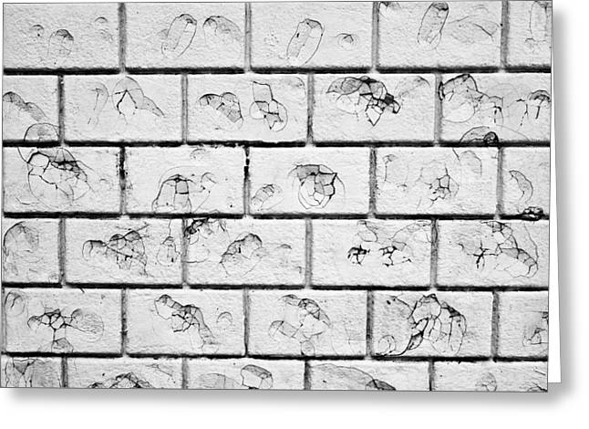 White Brick Wall Greeting Card by Tom Gowanlock