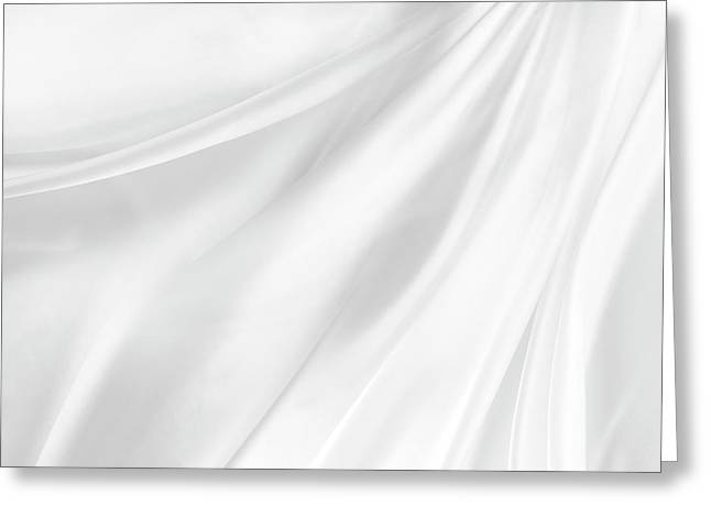 White Silk Greeting Card by Les Cunliffe