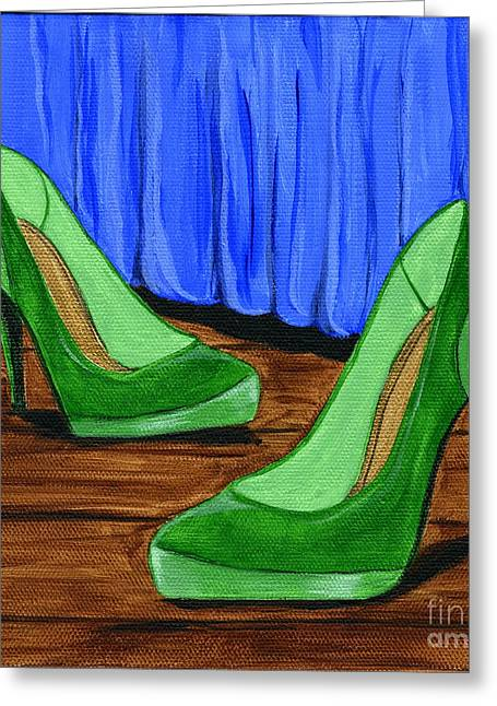 Greeting Card featuring the painting Who Wears These Shoes by Gail Finn