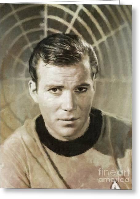 William Shatner Star Trek's Captain Kirk Greeting Card by Mary Bassett