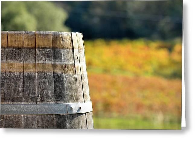 Wine Barrel In Autumn Greeting Card