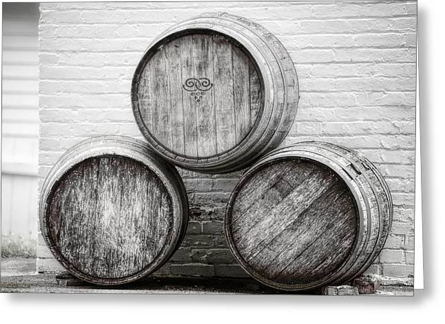 Wine Barrels At Mission Point Lighthouse Michigan Greeting Card by LeeAnn McLaneGoetz McLaneGoetzStudioLLCcom