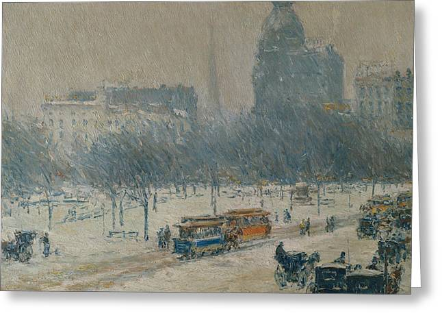 Winter In Union Square Greeting Card by Childe Hassam