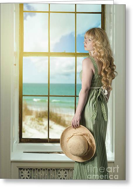 Woman At The Window Greeting Card by Amanda Elwell