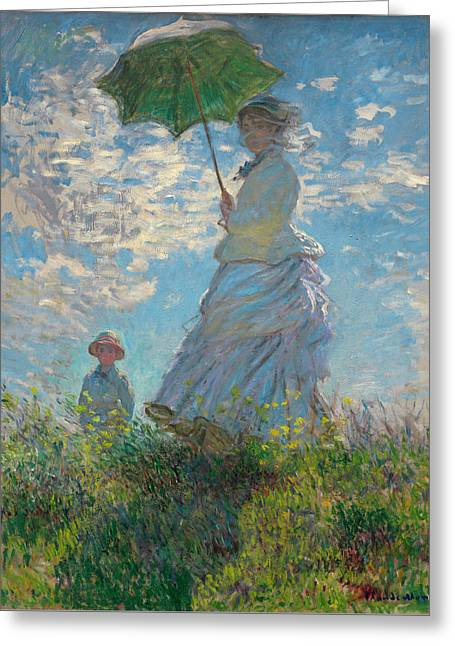 Woman With A Parasol - Madame Monet And Her Son Greeting Card by Claude Monet