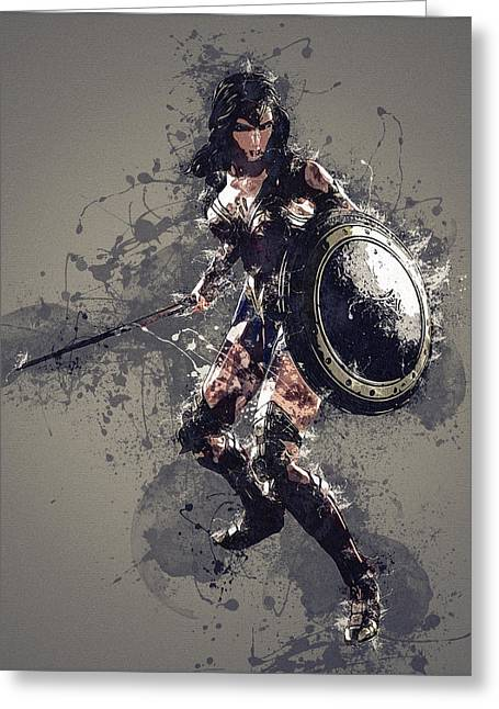 Wonder Woman Greeting Card by Elena Kosvincheva