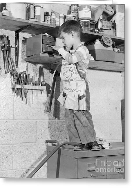 4 Year Old Boy In Tool Shed, C.1950s Greeting Card