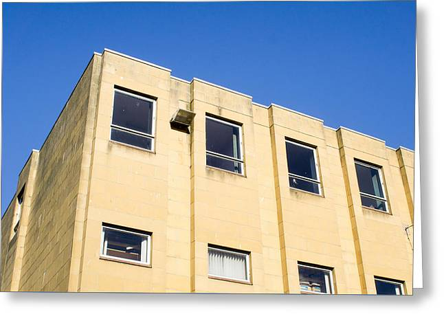 Yellow Building Greeting Card by Tom Gowanlock