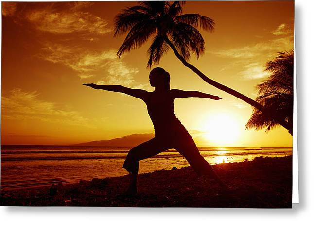 Yoga At Sunset Greeting Card by Ron Dahlquist - Printscapes