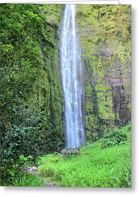 Lush Green Greeting Cards - 400 foot Waimoku falls maui Greeting Card by Pierre Leclerc Photography