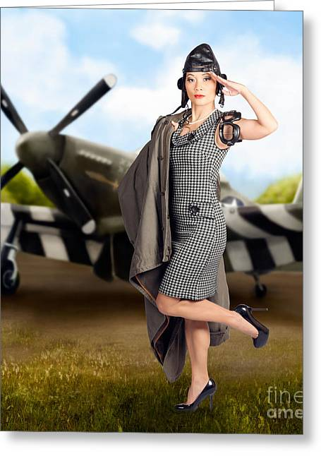 40s Military Pin Up Girl. Air Force Style Greeting Card