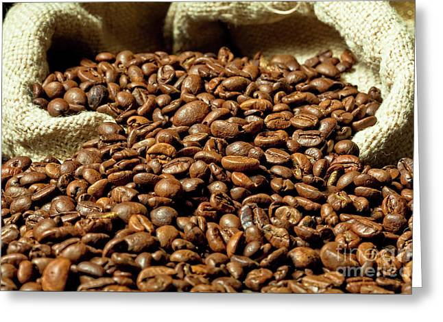 Greeting Card featuring the photograph Espresso And Coffee Grain by Gualtiero Boffi