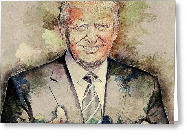 Donald Trump Greeting Card by Elena Kosvincheva