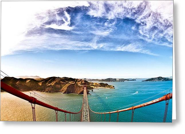 42179 Architecture Bridge View From Top Of The Golden Gate Bridge Greeting Card