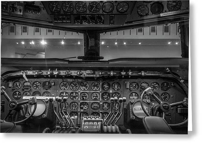 4245- Air And Space Museum Black And White Greeting Card by David Lange