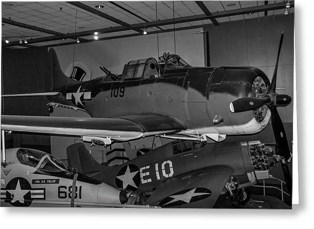 4254- Air And Space Museum Black And White Greeting Card by David Lange