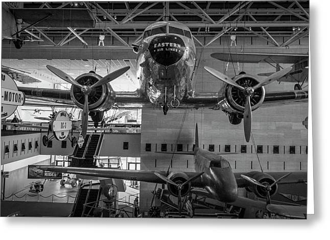 4267- Air And Space Museum Black And White Greeting Card by David Lange