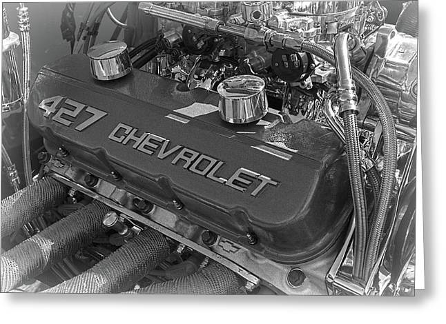 427 Chevrolet Engine B And W Greeting Card by Nick Gray