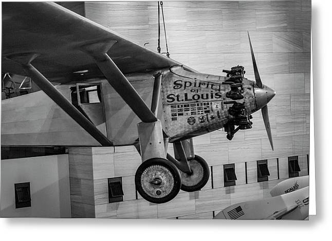 4273- Air And Space Museum Black And White Greeting Card by David Lange