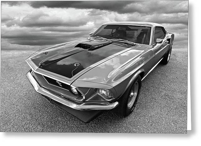 428 Cobra Jet Mach1 Ford Mustang 1969 In Black And White Greeting Card