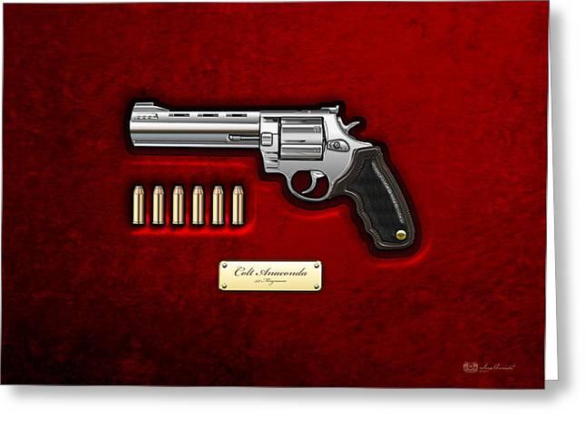 .44 Magnum Colt Anaconda On Red Velvet  Greeting Card