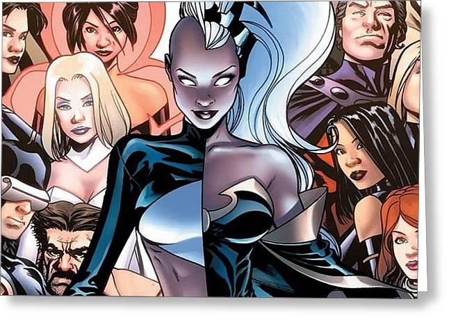 44345 Comics Marvel Comics Storm Character Cyclops Superheroines Psylocke Emma Frost Greeting Card