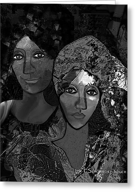 Greeting Card featuring the digital art 452 - Secrets Of Friendship by Irmgard Schoendorf Welch