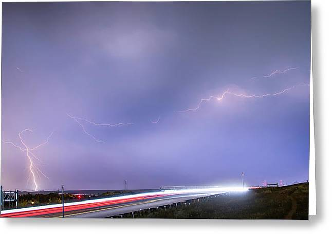 47 Street Lightning Storm Light Trails View Panorama 1 Greeting Card by James BO  Insogna