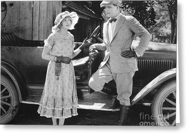 Silent Film Still: Couples Greeting Card by Granger