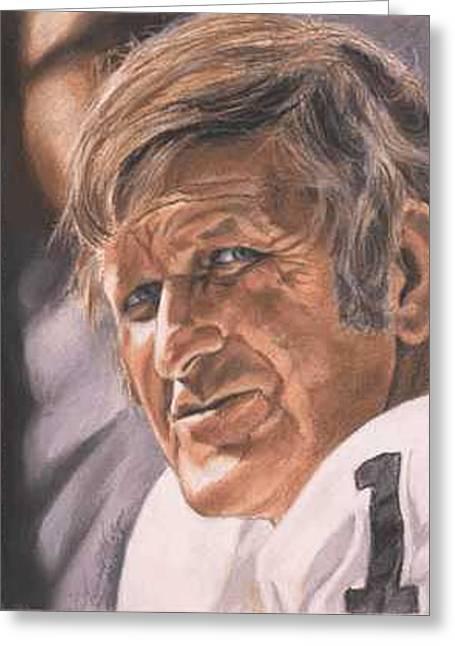 Oakland Paintings Greeting Cards - The Old Man - George Blanda Greeting Card by Kenneth Kelsoe
