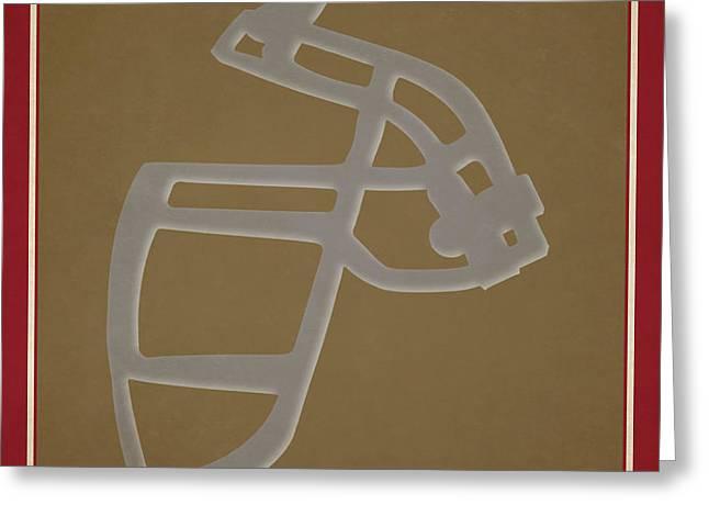 49ers Face Mask Greeting Card by Joe Hamilton