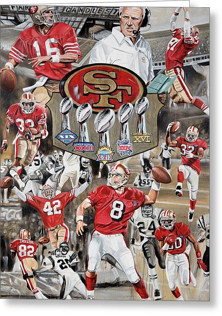 49ers Tribute Greeting Card by Joshua Jacobs