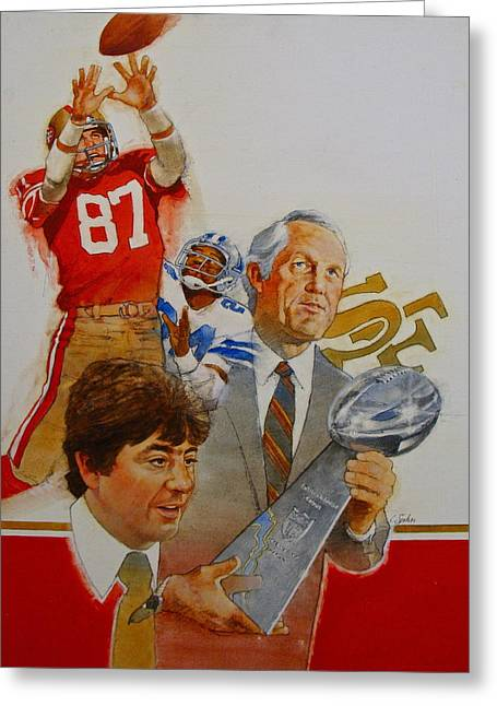 Greeting Card featuring the painting 49rs Media Guide Cover 1982 by Cliff Spohn