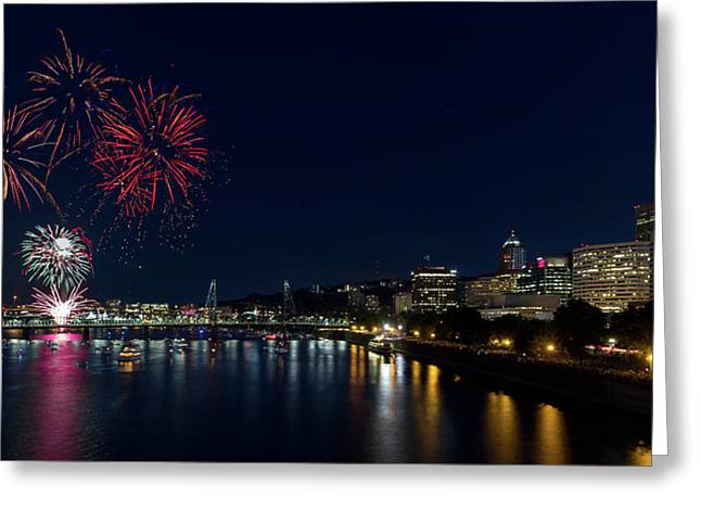 4th Of July Fireworks At Portland Waterfront 2016 Greeting Card by David Gn