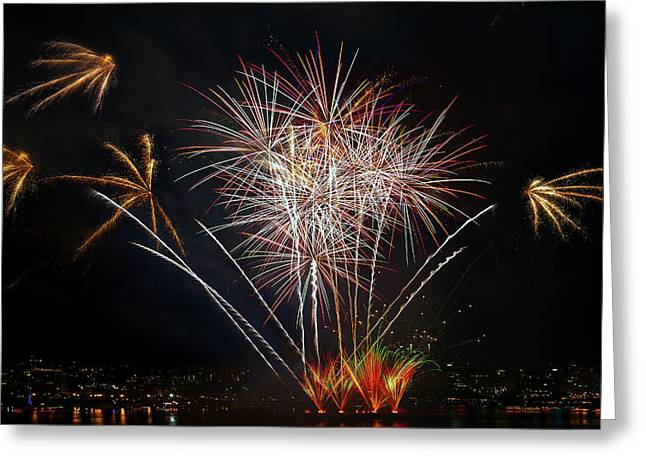 4th Of July Fireworks Display From The Barge Portland Oregon Greeting Card by David Gn
