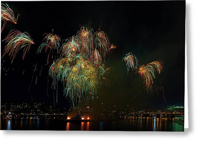 4th Of July Fireworks From The Barge Portland Oregon Greeting Card by David Gn