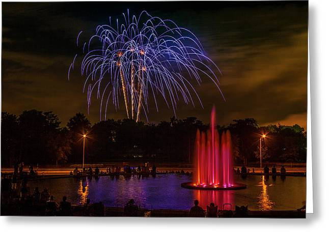 4th Of July Fireworks In Forest Park Greeting Card