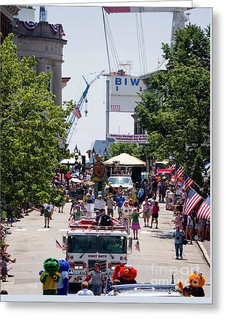 4th Of July Parade, Front Street, Bath, Maine #40142 Greeting Card by John Bald