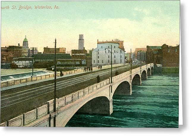 4th Street Bridge Waterloo Iowa Greeting Card by Greg Joens