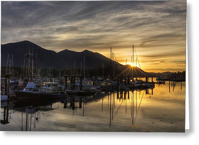 Trawler Greeting Cards - 4th Street Docks Sunrise - Tofino Greeting Card by Mark Kiver