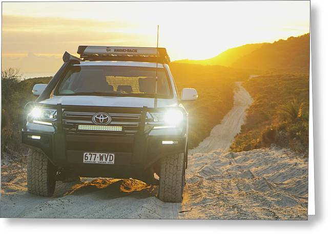 4wd Car Explores Sand Track In Early Morning Light Greeting Card