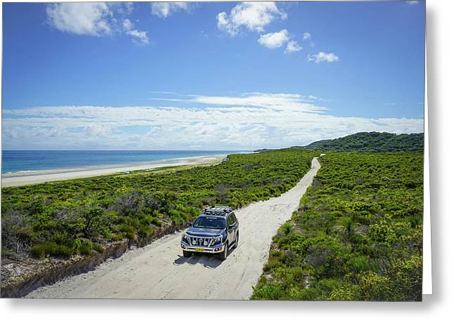 4wd Car Exploring Remote Track On Sand Island Greeting Card