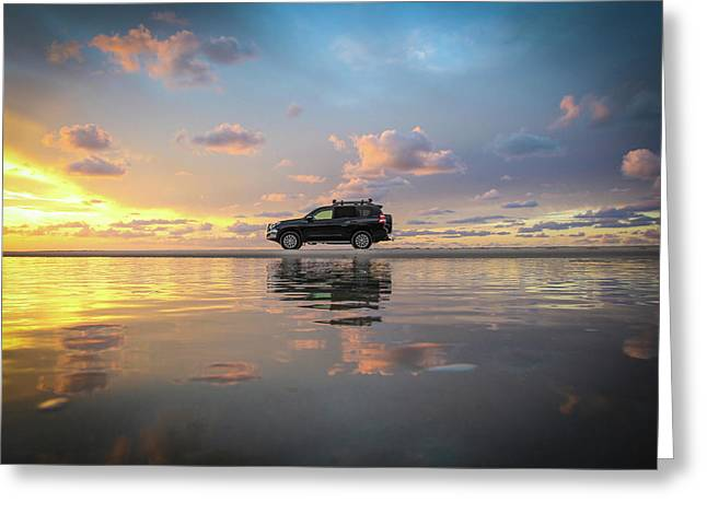 4wd Vehicle And Stunning Sunset Reflections On Beach Greeting Card