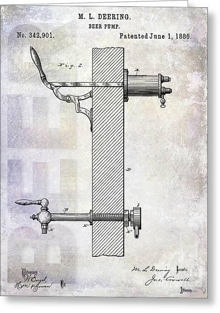 1886 Beer Pump Patent Greeting Card