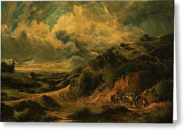 A Heath Painting Painted Originally Greeting Card by John Constable