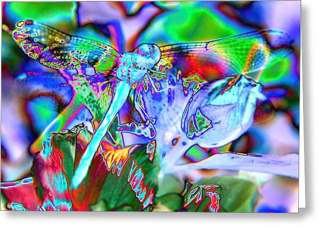 Abstract Dragonfly Greeting Card by Belinda Cox