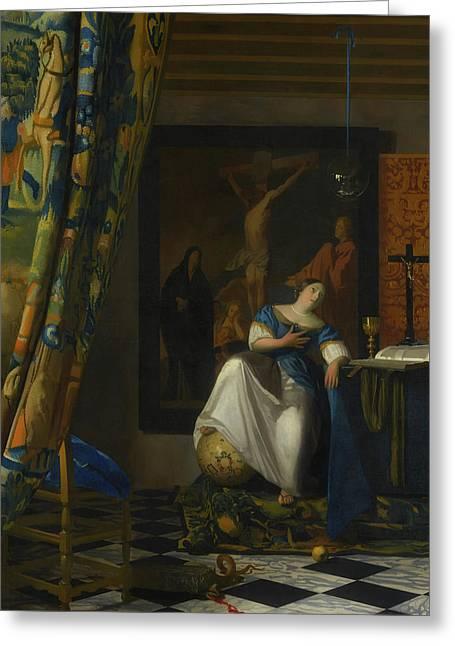 Allegory Of The Catholic Faith Greeting Card by Johannes Vermeer