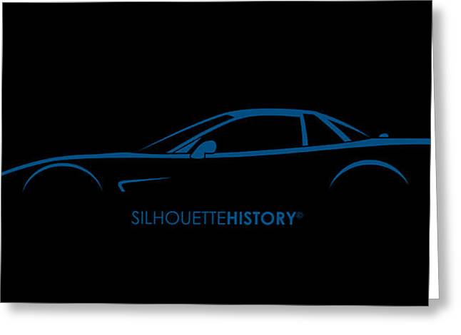 American Sports Car Silhouettehistory Greeting Card