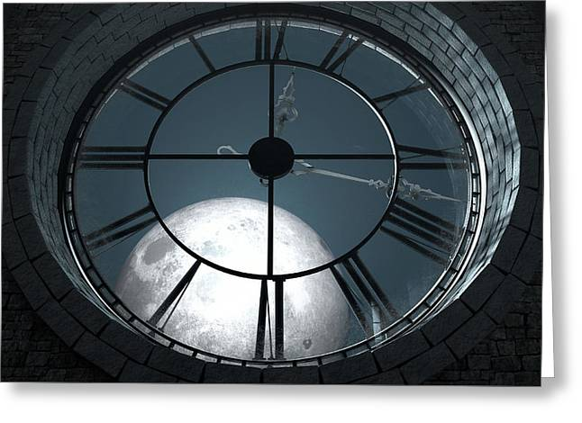 Antique Backlit Clock And Moon Greeting Card
